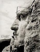 Workmen on Face of George Washington Fine Art Print