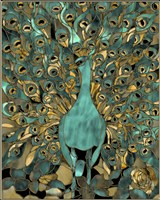 Gold Teal Peacock Fine Art Print