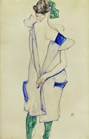 Standing Girl In Blue Dress And Green Stockings, 1913 Fine Art Print