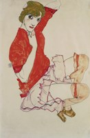 Wally In Red Blouse With Raised Knees, 1913 Fine Art Print
