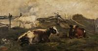 Landscape With Cows Fine Art Print