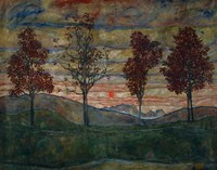 Four Trees, 1917 Fine Art Print