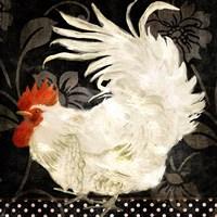 Rooster Damask I Framed Print