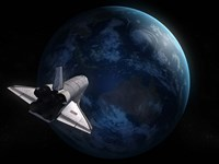 Space Shuttle Against Earth Fine Art Print