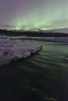 Aurora Borealis over Creek, Yukon, Canada Fine Art Print