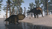 Udanoceratops and Shuangmiaosaurus Fine Art Print