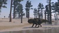 Udanoceratops Walking Along Water Fine Art Print