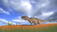 Ceratosaurus Hunting in Prehistoric Grasslands Fine Art Print
