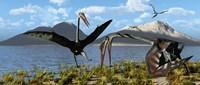 Gigantic Quetzalcoatlus pterosaurs Fine Art Print