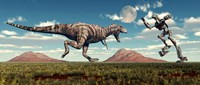 Tyrannosaurus Rex Battling Robot Fine Art Print