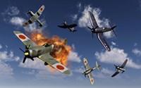 F4U Corsair and Japanese Nakajima Planes Fine Art Print