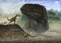 Huchengtyrannus Magnus and Offspring Fine Art Print