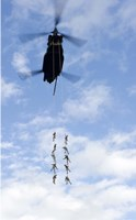 US Soldiers Suspended by a CH-47 Chinook Fine Art Print