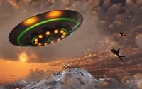 F-22 Raptors Chase a UFO Fine Art Print