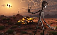 Grey Aliens at the Site of Their UFO crash Fine Art Print