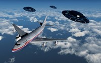 Boeing 747 and UFO's Fine Art Print