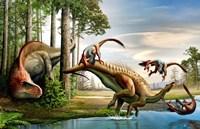 Acrocanthosaurus Observes a Tenontosaurus Fine Art Print