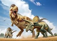 Tyrannosaurus Rex Fighting aTriceratops Fine Art Print