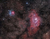 Lagoon Nebula and Trifid Nebula in Sagittarius Fine Art Print