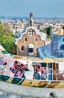 Spain, Catalonia, Barcelona, Park Guell Terrace Fine Art Print