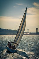 Spain, Barcelona Sailboat on the Balearic Sea just off the Coast Fine Art Print