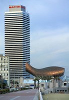 Olympic Port with Metal Mesh Fish by Frank O Gehry, Barcelona, Spain Fine Art Print