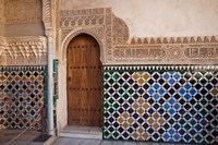Spain, Andalusia, Alhambra Ornate door and tile of Nazrid Palace Fine Art Print