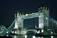 Tower Bridge at Night, London, England Fine Art Print