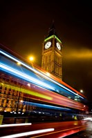 London, Big Ben, Houses of Parliament, Red bus Fine Art Print