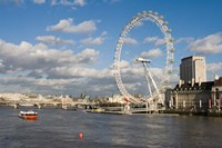 England, London, London Eye and Shell Building Fine Art Print