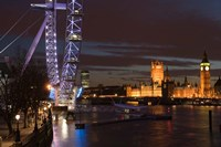 Houses of Parliament and London Eye, London, England Fine Art Print