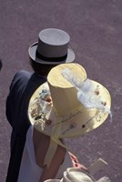 Man and woman wearing hats, Royal Ascot, London, England Fine Art Print