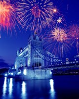 Fireworks over the Tower Bridge, London, Great Britain, UK Fine Art Print