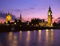 Big Ben, Houses of Parliament and the River Thames at Dusk, London, England Fine Art Print