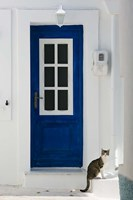 Village Door with Cat, Kokkari, Samos, Aegean Islands, Greece Fine Art Print