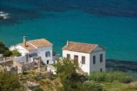 Greece, Aegean Islands, Samos, Kalami Beach Houses Fine Art Print