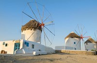 Mykonos, Greece Famous five windmills at sunrise Fine Art Print