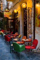 Outdoor Cafe Seating, Chania, Crete, Greece Fine Art Print