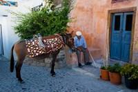 Resting Elderly Gentleman, Oia, Santorini, Greece Fine Art Print