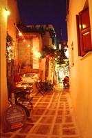 Ios, Greece Restaurant setting on the Greek isle Fine Art Print