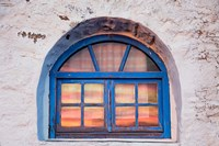 Window with sunset reflection, Mykonos, Greece Fine Art Print