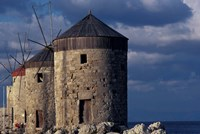 Windmills along Mandraki Harbor, Rhodes, Greece Fine Art Print