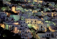 Hilltop Buildings at Night, Mykonos, Cyclades Islands, Greece Fine Art Print