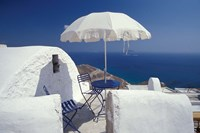 Terrace Overlooking Aegean Sea, Anafi, Cyclades Islands, Greece Fine Art Print