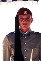 Close Up of Soldier in Traditional Dress, Athens, Greece Fine Art Print