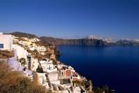 White Buildings on the Cliffs in Oia, Santorini, Greece Fine Art Print