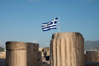Greece, Athens, Acropolis Column ruins and Greek Flag Fine Art Print
