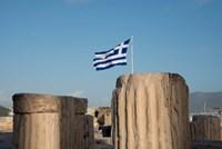 Greece, Athens, Acropolis Column ruins and Greek Flag Fine Art Print