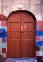 Old Brown Wooden Door, Rhodes, Dodecanese Islands, Greece Fine Art Print