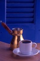 Greek Coffee and Copper Pot, Crete, Greece Fine Art Print